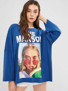Raw Trim Graphic Oversized Sweatshirt - Blue