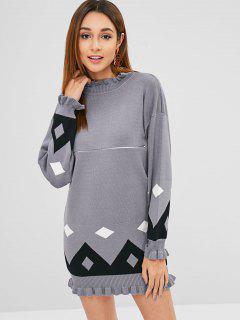 Longline Ruffles Geometric Sweater - Gray