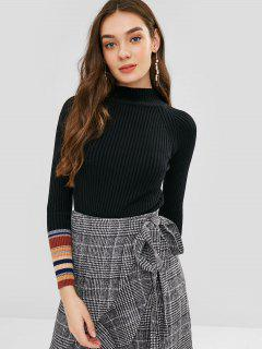 Striped Trim Slim Ribbed Sweater - Black