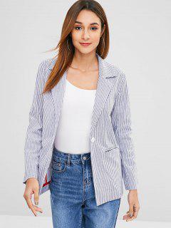 Striped Faux Pockets Lapel Blazer - Multi L
