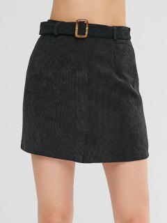 Mini Belt Skirt With Slit - Black S