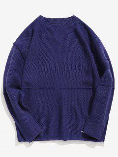 Embroidered Letter Casual Knit Sweater - Cadetblue Xl