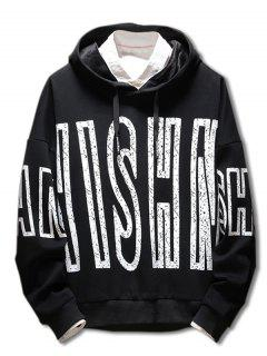 Drop Shoulder Letter Print Hoodie - Black 3xl