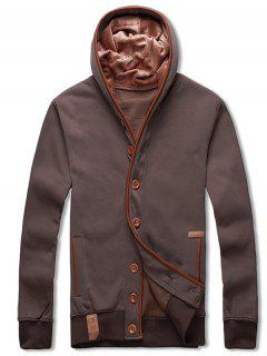 Single Breasted Hooded Fleece Jacket - Coffee Xs
