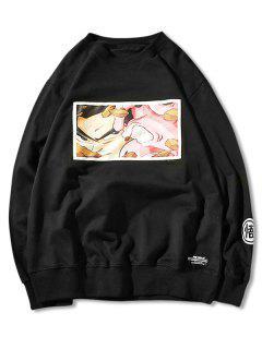 Embroidery Cartoon Print Sweatshirt - Black M