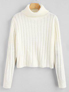 ZAFUL Turtleneck Plain Sweater - White