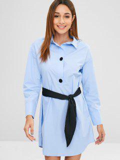 Robe Droite à Demi-boutons - Bleu Oeuf De Robin L