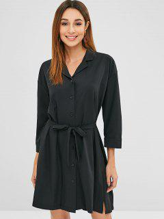 Lapel Collar Belted Mini Dress - Black M