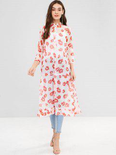 Blumendruck Rüschen Semi Sheer Dress - Bohne Rot M