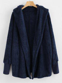 Oversize Open Front Furry Coat - Cadetblue M