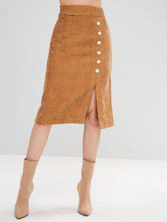 Slit Mid Calf Skirt With Buttons - Khaki M
