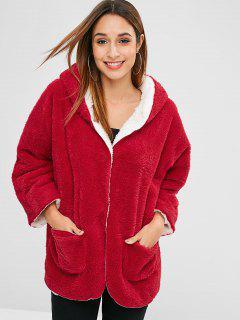 Manteau à Capuche Avec Bouton Pression En Fausse Laine - Rouge M