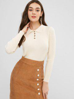 Polo Collar Ribbed Slim Sweater - Blanched Almond