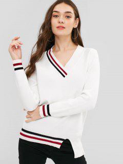 Asymmetric Striped Trim Tunic Sweater - White