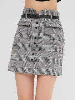 Bodycon Plaid Skirt With Buttons - Multi M