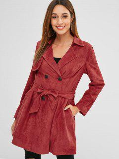 ZAFUL Double Breasted Faux Suede Trench Coat - Cherry Red S