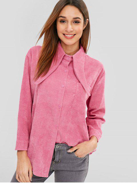 Fronttasche Cord-Shirt - Helles Rosa Eine Größe Mobile