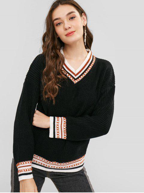 V-Ausschnitt Gestreifte Chunky Knit Sweater - Schwarz Eine Größe Mobile