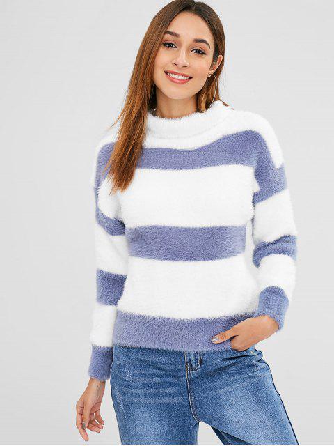 Wide Stripe flauschiger Rollkragenpullover - Blaugrau Eine Größe Mobile