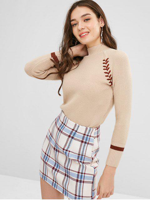 Kontrastierender Schnürsenkel-Pullover - Khaki Eine Größe Mobile