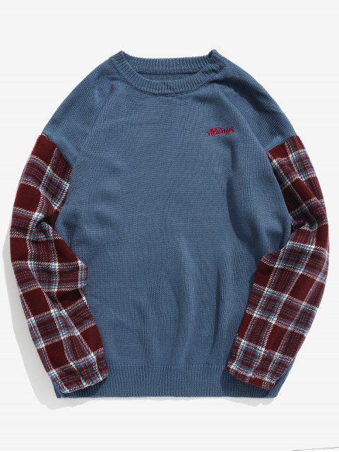 Ärmel Plaid Patchwork Strickpullover - Blau L Mobile