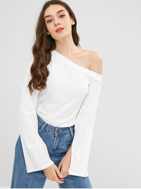 Camiseta de manga larga con cuello inclinado - Blanco L Mobile