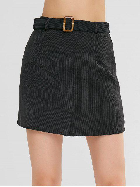 Mini falda de cinturón con abertura - Negro M Mobile