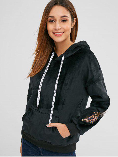 latest Embroidered Velvet Drop Shoulder Hoodie - BLACK M Mobile