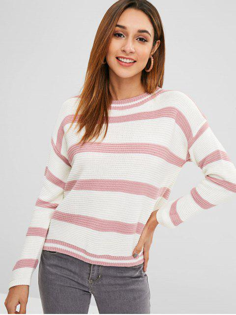 shop Drop Shoulder Striped Loose Fit Sweater - LIPSTICK PINK ONE SIZE Mobile