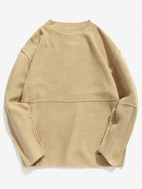 best Embroidered Letter Casual Knit Sweater - KHAKI XL Mobile