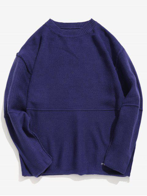 hot Embroidered Letter Casual Knit Sweater - CADETBLUE M Mobile