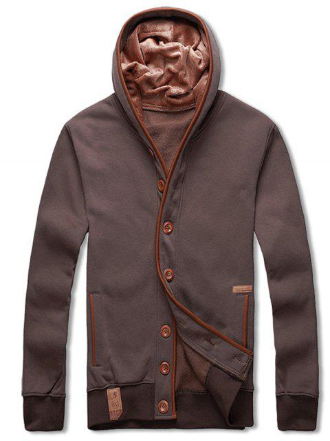 latest Single Breasted Hooded Fleece Jacket - COFFEE M Mobile