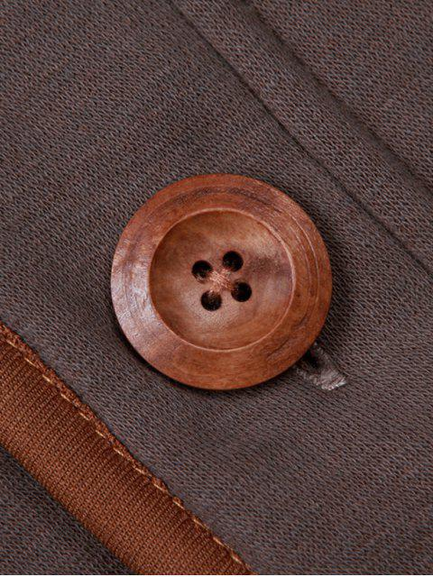 latest Single Breasted Hooded Fleece Jacket - COFFEE M Mobile