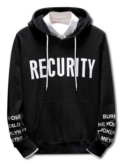 outfit Casual Drawstring Letter Print Hoodie - BLACK 2XL Mobile