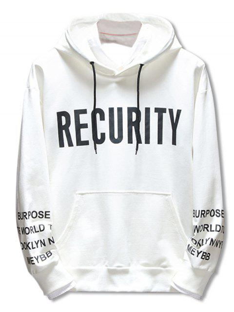 shop Casual Drawstring Letter Print Hoodie - WHITE XL Mobile