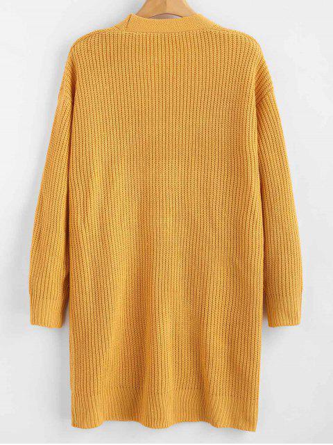 best ZAFUL Longline Pockets Open Front Cardigan - ORANGE GOLD ONE SIZE Mobile