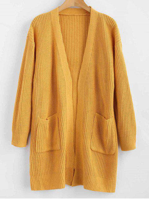 best ZAFUL Longline Pockets Open Front Cardigan - ORANGE GOLD ONE SIZE Mobile