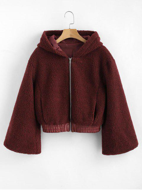 outfits ZAFUL PU Leather Panel Fluffy Teddy Coat - RED WINE L Mobile