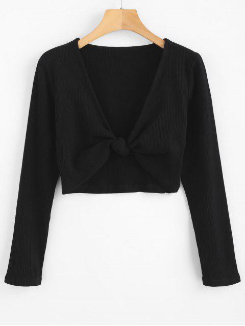 latest ZAFUL Cropped Knotted Top - BLACK L Mobile