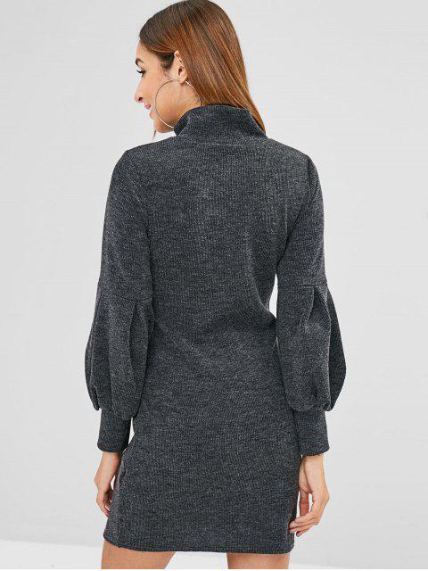 best Long Sleeves High Neck Mini Dress - BLACK M Mobile