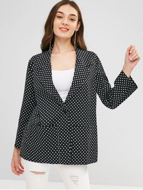 affordable Polka Dot Longline Lapel Blazer - BLACK M Mobile