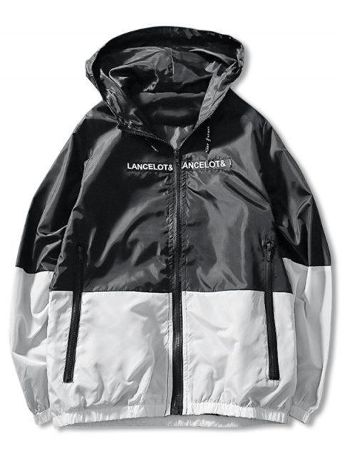 fancy Letter Print Hit Color Zipper Jacket - BLACK L Mobile