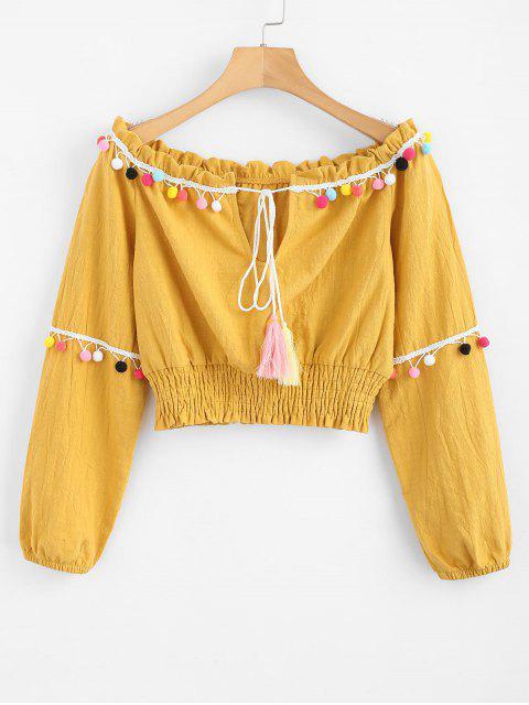 sale ZAFUL Tassels Smocked Off Shoulder Top - GOLDEN BROWN M Mobile