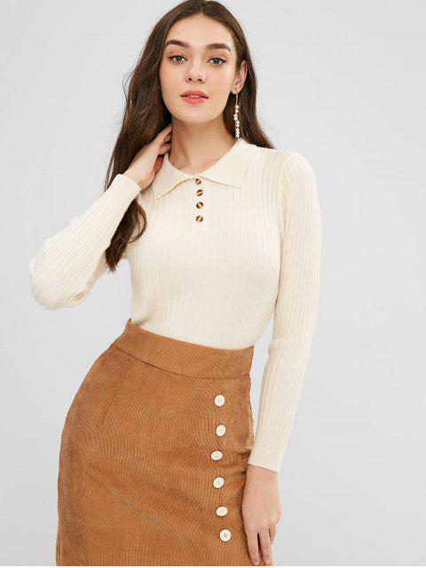 outfit Polo Collar Ribbed Slim Sweater - BLANCHED ALMOND ONE SIZE Mobile