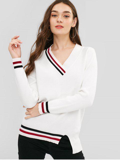 ladies Asymmetric Striped Trim Tunic Sweater - WHITE ONE SIZE Mobile