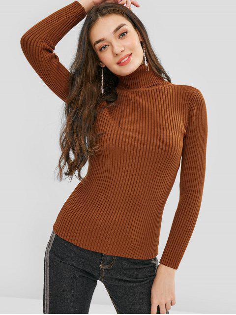 Pullover Einfarbiger Rollkragenpullover - Braun Eine Größe Mobile