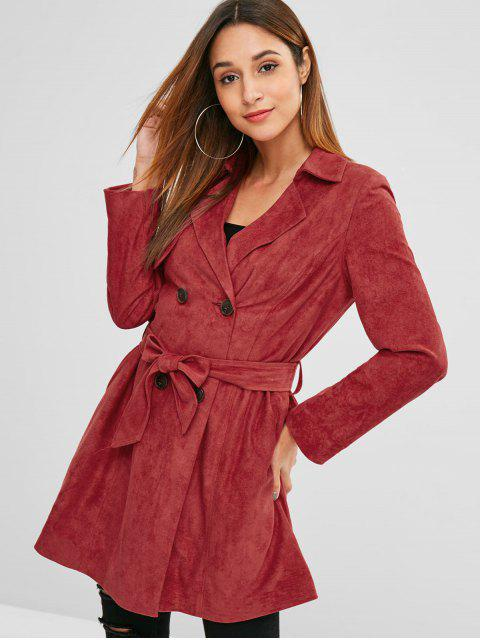 lady ZAFUL Double Breasted Faux Suede Trench Coat - CHERRY RED S Mobile