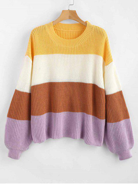 online ZAFUL Lantern Sleeve Stripes Sweater - MULTI ONE SIZE Mobile