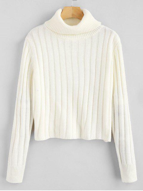 new ZAFUL Turtleneck Plain Sweater - WHITE ONE SIZE Mobile
