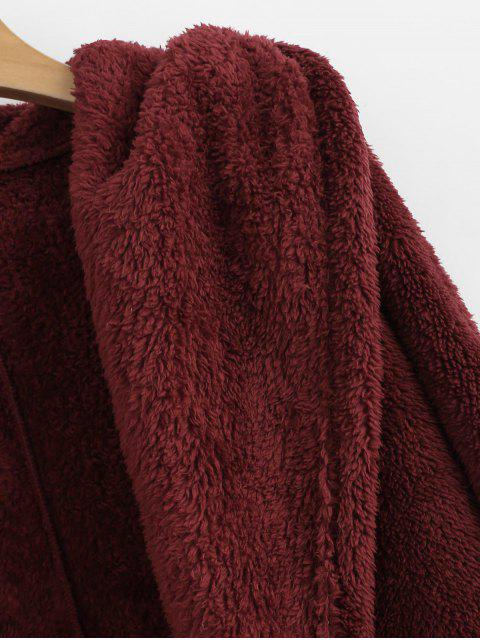 new Oversize Open Front Furry Coat - RED WINE S Mobile